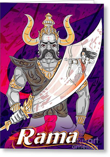 Lord Rama With Demon Ravana In Happy Greeting Card