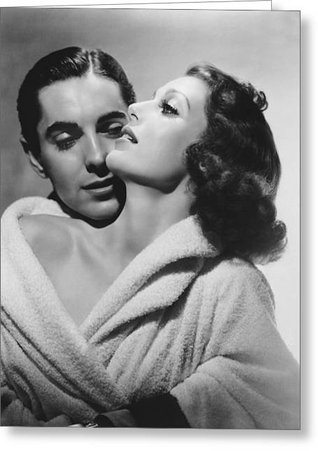 Loretta Young And Tyrone Power Greeting Card