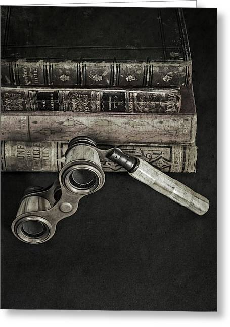 Lorgnette With Books Greeting Card by Joana Kruse