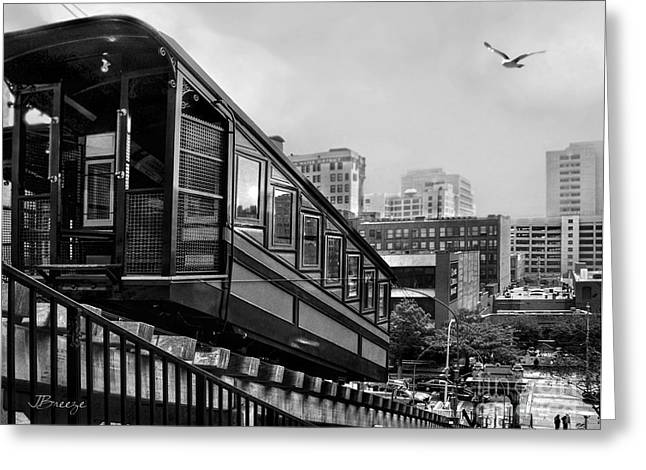 Los Angeles Angels Flight.bw Greeting Card