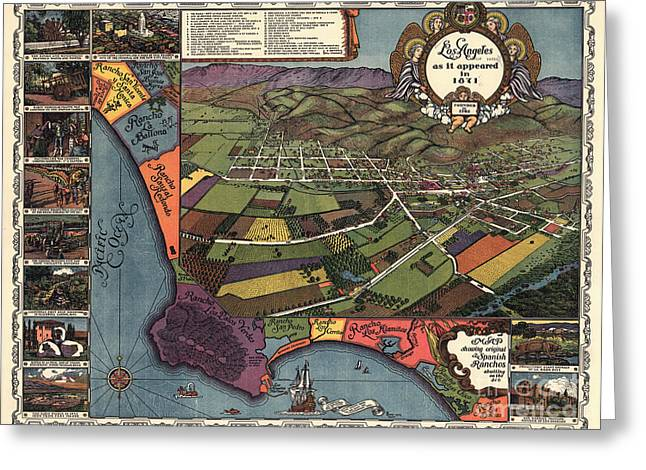 Los Angeles As It Appeared In 1871 Greeting Card by Edward Fielding