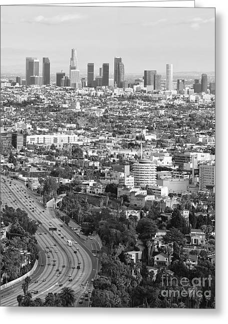 Los Angeles Basin And Los Angeles Skyline Black And White Monochrome Greeting Card