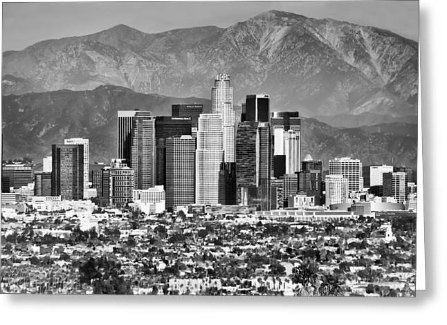 Los Angeles California Skyline - Black And White Greeting Card