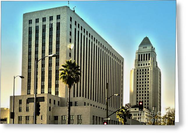 Los Angeles City Hall Greeting Card by Gregory Dyer