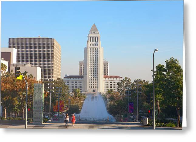 Greeting Card featuring the photograph Los Angeles City Hall by Ram Vasudev
