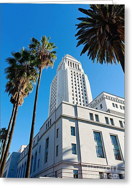Los Angeles City Hall With Palm Trees. Greeting Card by Jamie Pham