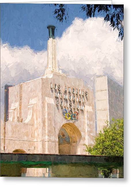 Greeting Card featuring the painting Los Angeles Coliseum by Ike Krieger