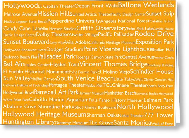 Los Angeles In Words Orange Greeting Card by Sabine Jacobs
