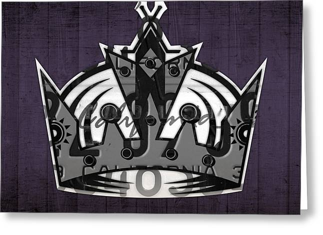 Los Angeles Kings Hockey Team Retro Logo Vintage Recycled California License Plate Art Greeting Card by Design Turnpike