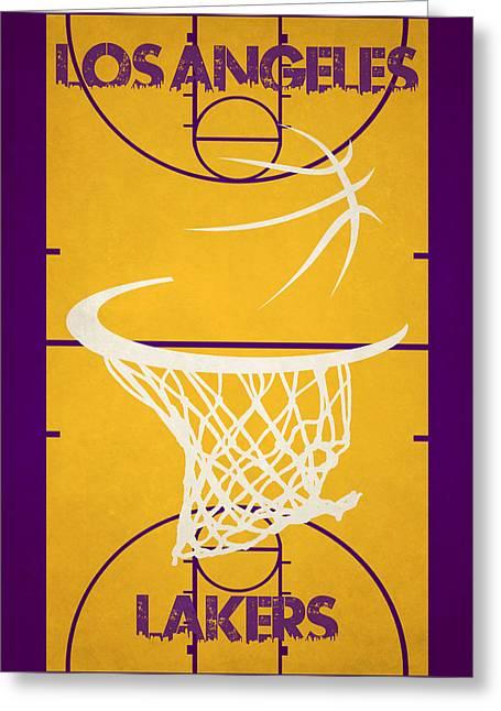 Los Angeles Lakers Court Greeting Card by Joe Hamilton
