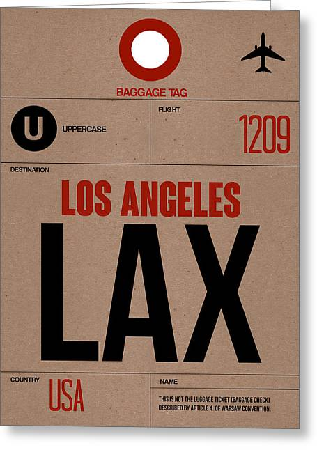 Los Angeles Luggage Poster 1 Greeting Card by Naxart Studio
