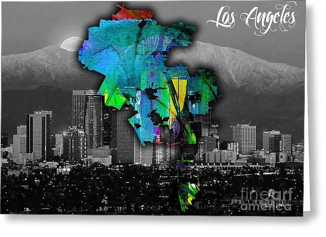 Los Angeles Map And Skyline Watercolor Greeting Card by Marvin Blaine