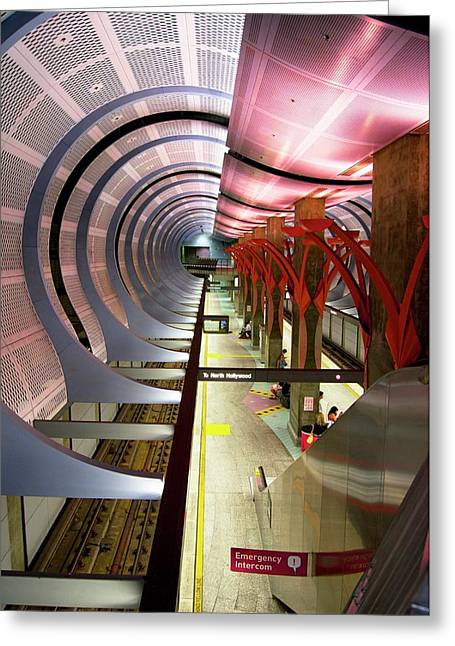 Los Angeles Metro Station Interior. Greeting Card by Mark Williamson
