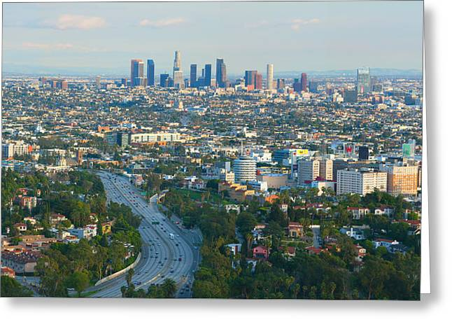 Los Angeles Skyline And Los Angeles Basin Panorama Greeting Card