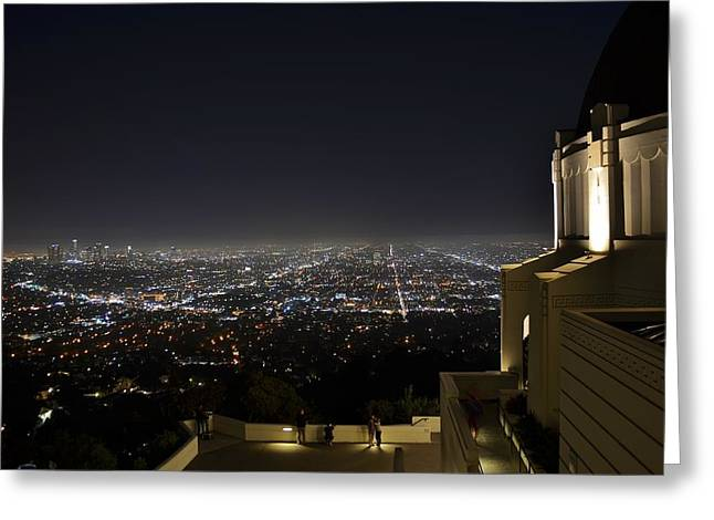 Los Angeles Skyline From Griffith Observatory Greeting Card by David Lobos