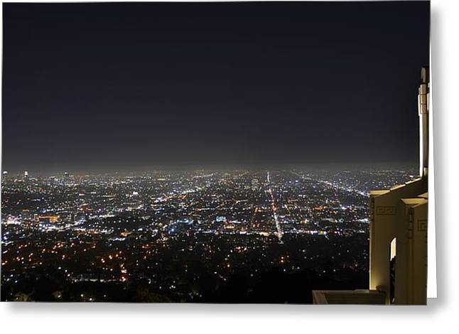 Los Angeles Skyline Panorama From The Griffith Observatory Greeting Card by David Lobos
