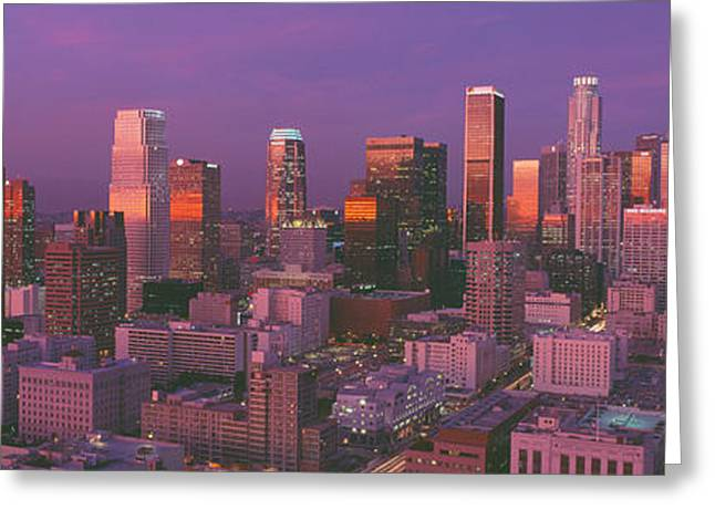 Los Angeles, Skyline, Sunset, California Greeting Card by Panoramic Images