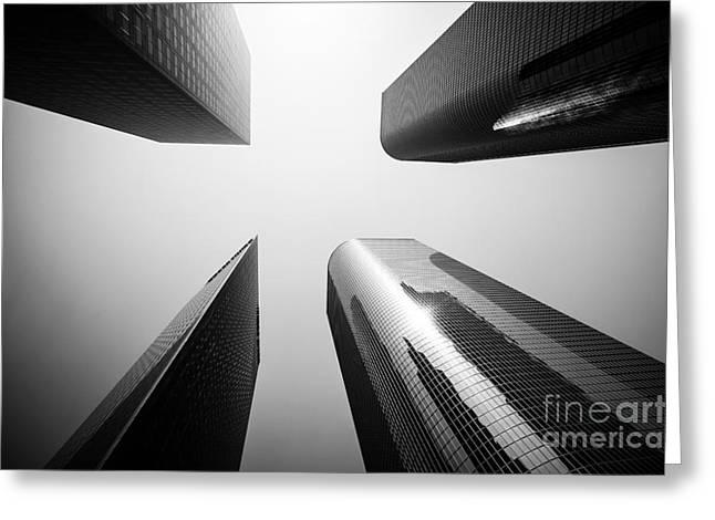 Los Angeles Skyscraper Buildings In Black And White Greeting Card by Paul Velgos