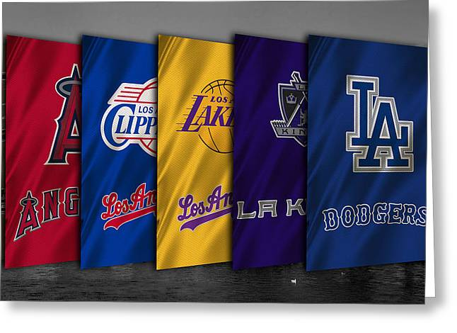 Los Angeles Sports Teams Greeting Card by Joe Hamilton