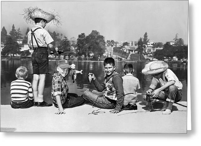 Los Angeles Tom Sawyer Contest Greeting Card by Underwood Archives