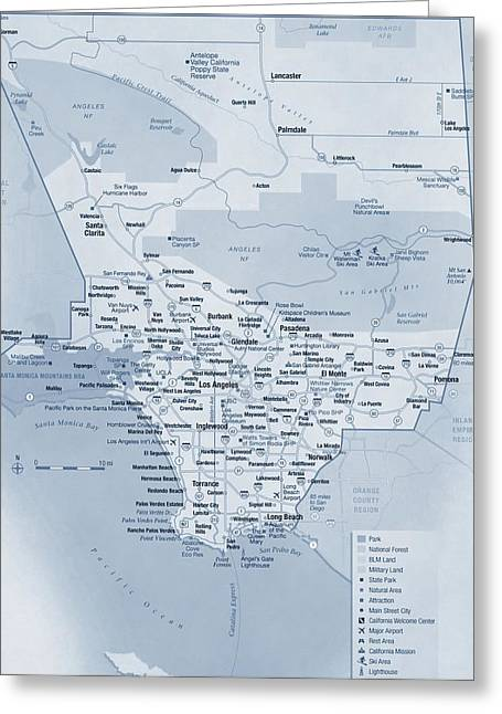 Los Angeles Tourist Map Greeting Card