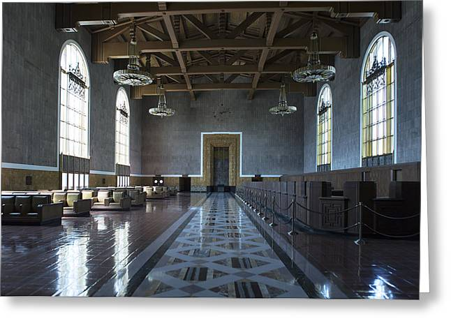 Greeting Card featuring the photograph Los Angeles Union Station Original Ticket Lobby by Belinda Greb