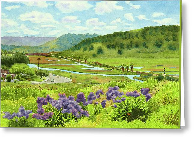 Los Penasquitos Looking East Greeting Card by Mary Helmreich