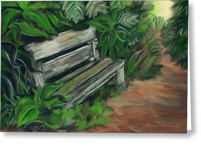 Lost Bench Greeting Card by Jean Pacheco Ravinski