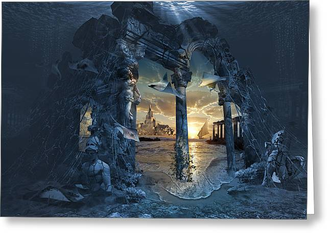 Lost City Of Atlantis Greeting Card by George Grie
