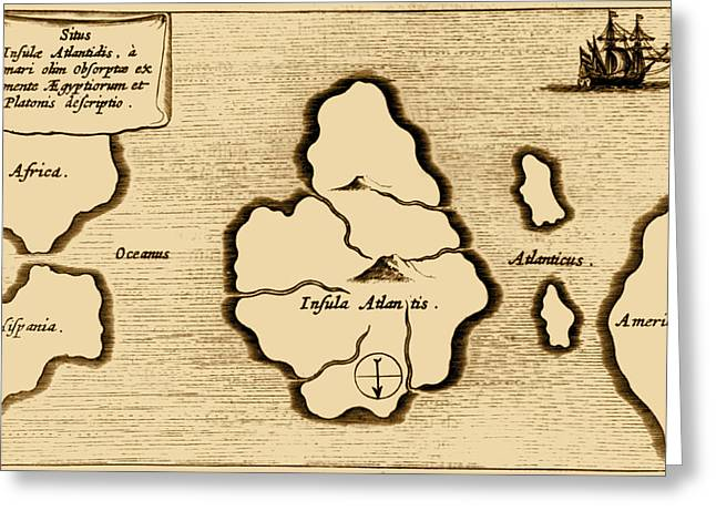 Lost Continent Of Atlantis, 1665 Greeting Card by Science Source