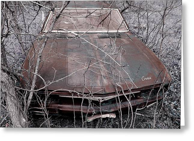 Greeting Card featuring the photograph Lost Corvair Adjustment  by Christopher McKenzie