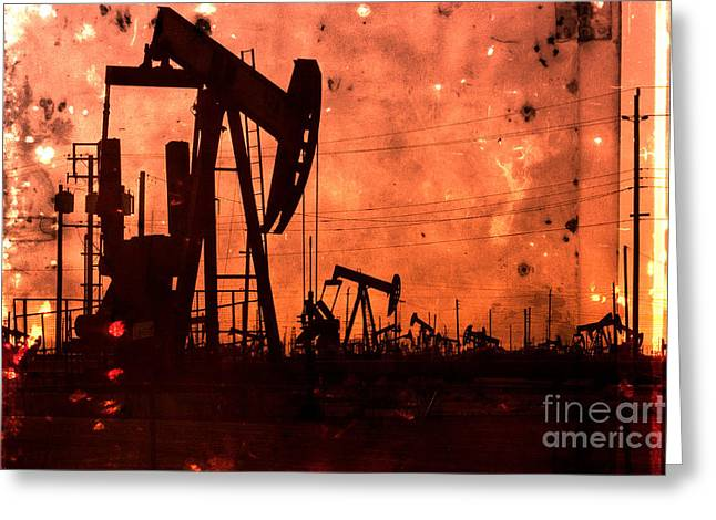 Lost Hills Oil Greeting Card by Matt  Trimble