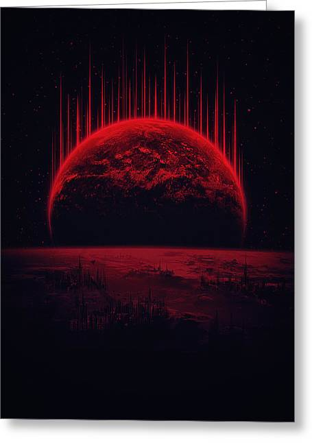 Lost Home Colosal Future Sci Fi Deep Space Scene In Diabolic Red Greeting Card by Philipp Rietz