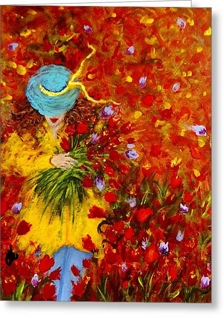 Lost In A Field Of Tulips.. Greeting Card