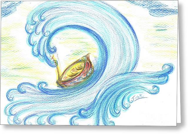 Lost In Giant Wave Greeting Card by Teresa White