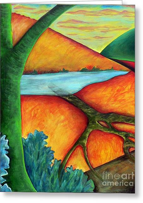 Greeting Card featuring the painting Lost Land 1 by Elizabeth Fontaine-Barr