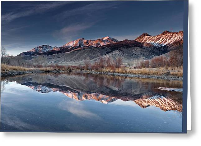 Lost River Mountains Winter Reflection Greeting Card by Leland D Howard