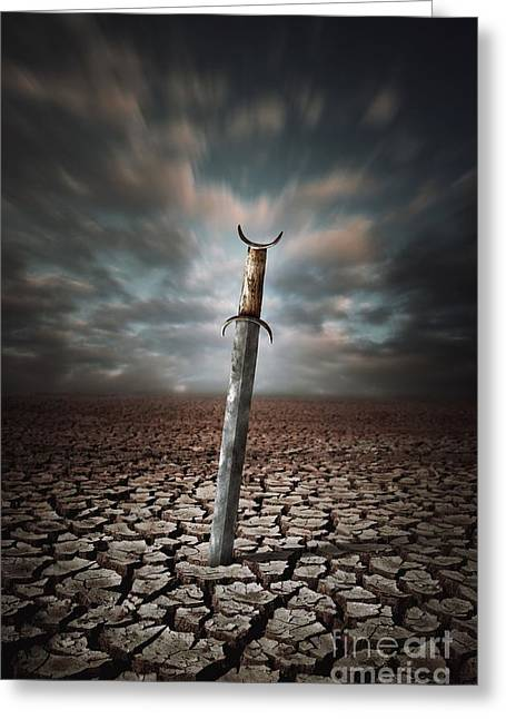 Lost Sword Greeting Card by Carlos Caetano
