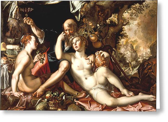 Lot And His Daughters Greeting Card by Joachim Antonisz Wtewael