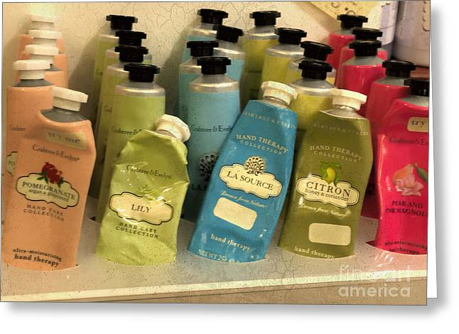 Lotions And Potions Greeting Card by Gillian Singleton