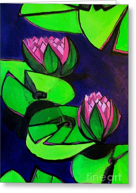 Lotus 2 Botanical Flowers Greeting Card by Grace Liberator