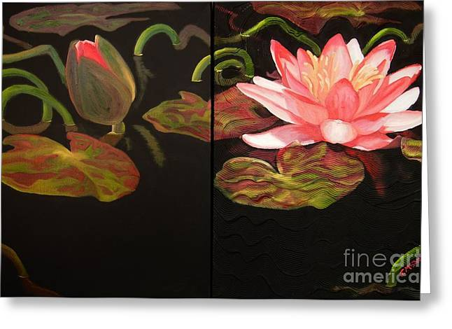 Lotus Bud To Bloom Greeting Card by Janet McDonald