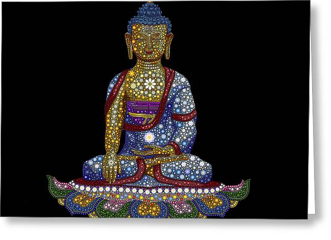 Lotus Buddha Greeting Card by Tim Gainey