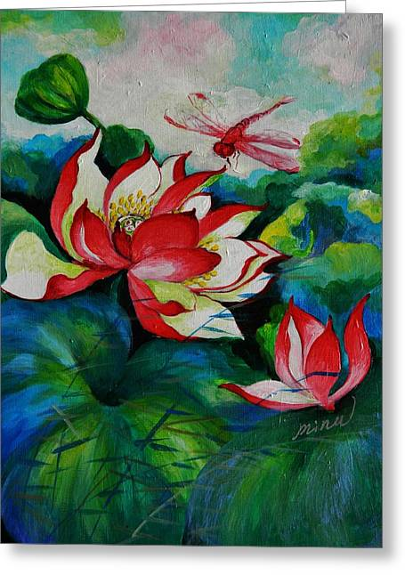 Lotus Dragon Fly A Greeting Card by Min Wang