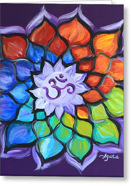 Greeting Card featuring the painting Lotus Flower by Agata Lindquist