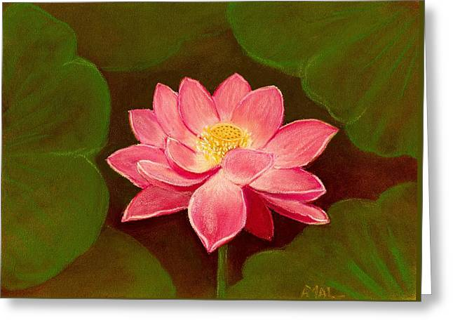 Lotus Flower Greeting Card by Anastasiya Malakhova