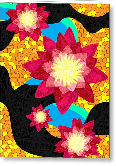 Lotus Flower Bombs In Magenta Greeting Card by Kenal Louis
