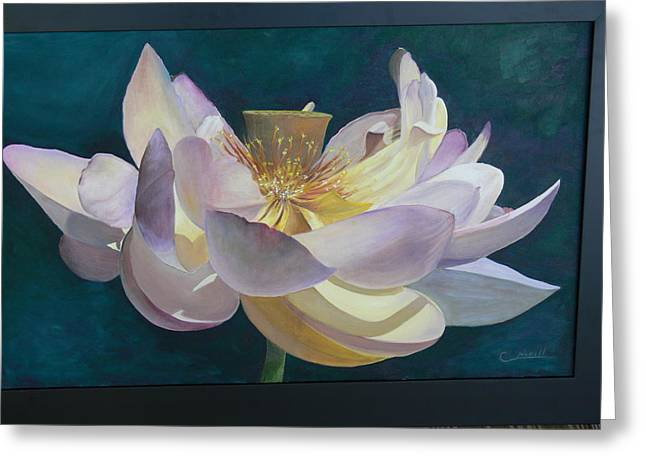 Greeting Card featuring the painting Lotus Flower by Catherine Hamill