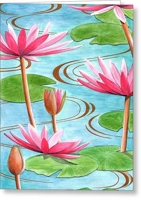 Lotus Flower Greeting Card by Jenny Barnard