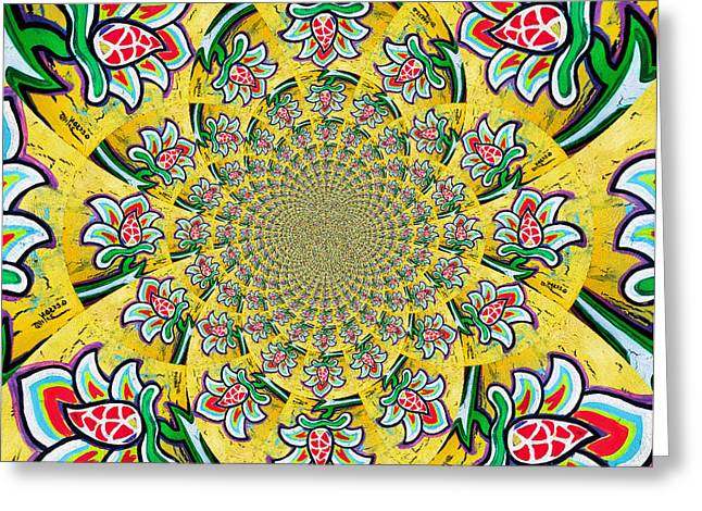 Lotus Flower Kaleidoscope Mandela Greeting Card by Genevieve Esson